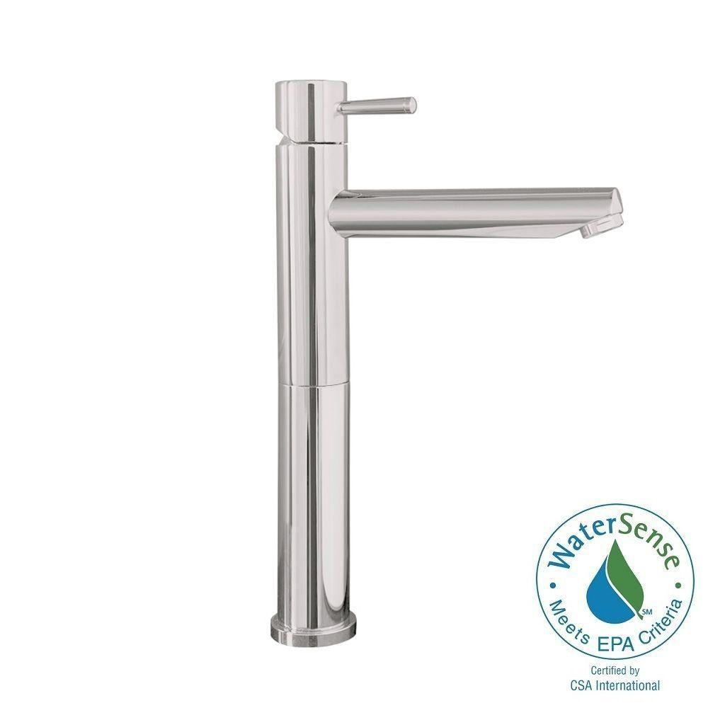 Serin Single Hole Single-Handle Mid-Arc Vessel Bathroom Faucet with Grid Drain
