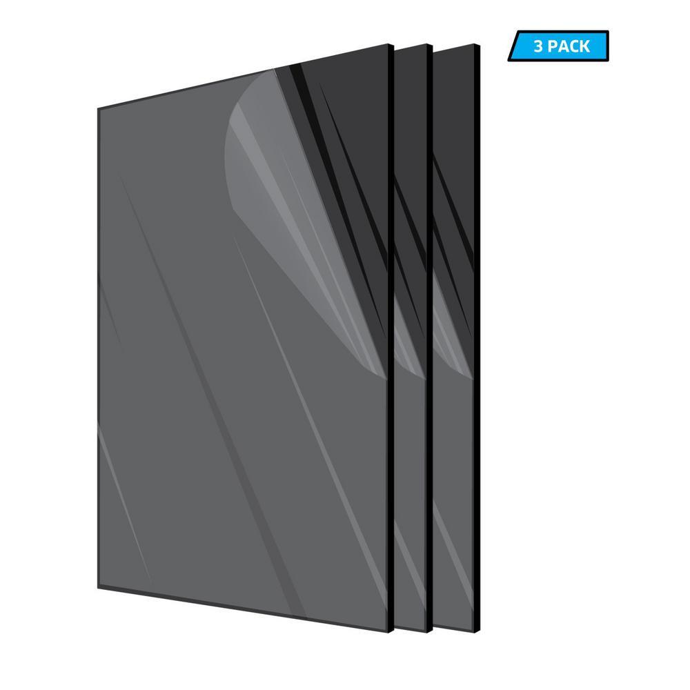 12 in. x 24 in. x 1/8 in. Black Plexiglass Acrylic Sheet (3-Pack)
