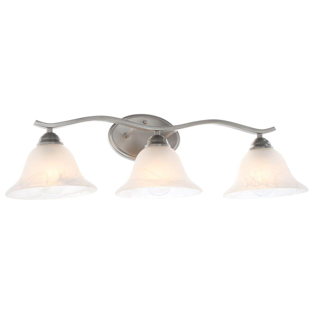 Andenne 3 Light Brushed Nickel Vanity Light With Bell Shaped Marbleized  Glass Shades