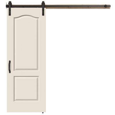 30 in. x 84 in. Princeton Primed Smooth Molded Composite MDF Barn Door with Rustic Hardware Kit