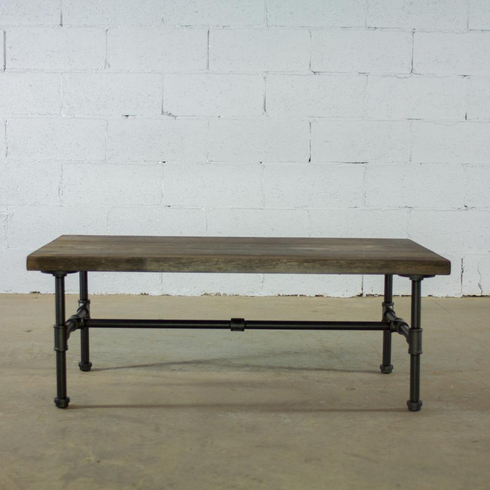 Os Home And Office Furniture Black Steel Pipe Coffee Table With Reclaimed Aged Wood