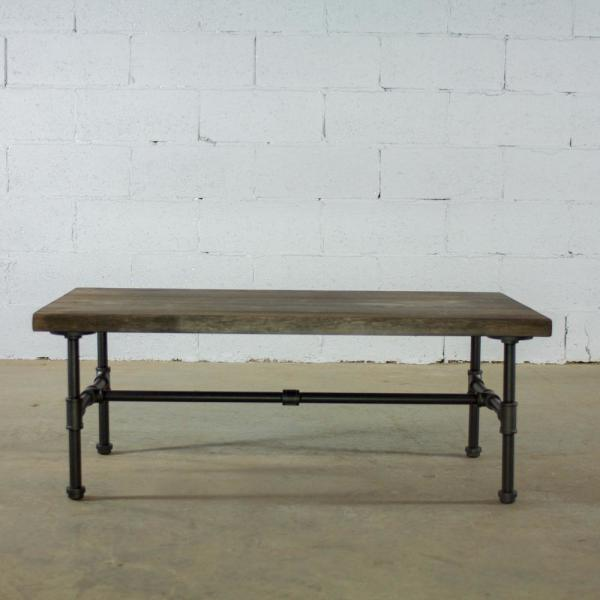 Black Steel Industrial Pipe Coffee Table With Reclaimed Aged Wood