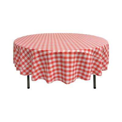 90 in. White and Coral Polyester Gingham Checkered Round Tablecloth