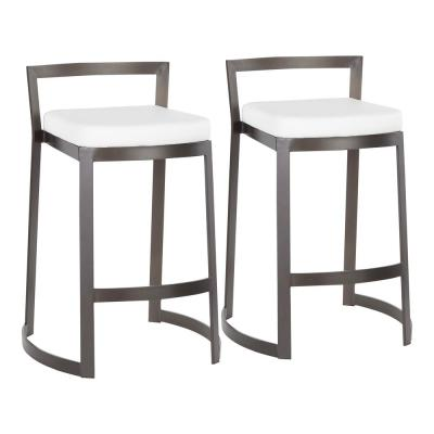 Fuji DLX 28 in. Antique Counter Stool with White Faux Leather Cushion (Set of 2)
