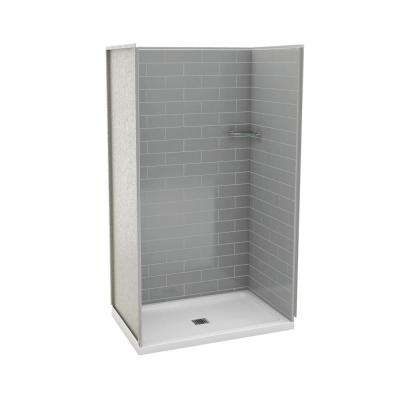 Utile Metro 32 in. x 48 in. x 83.5 in. Alcove Shower Stall in Ash Grey with Left Drain Base in White