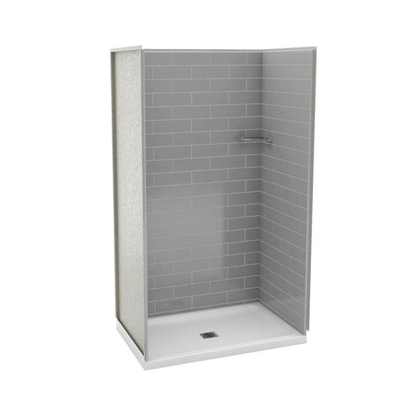 Utile Metro 32 in. x 48 in. x 83.5 in. Alcove Shower Stall in Ash Grey with Center Drain Base in White