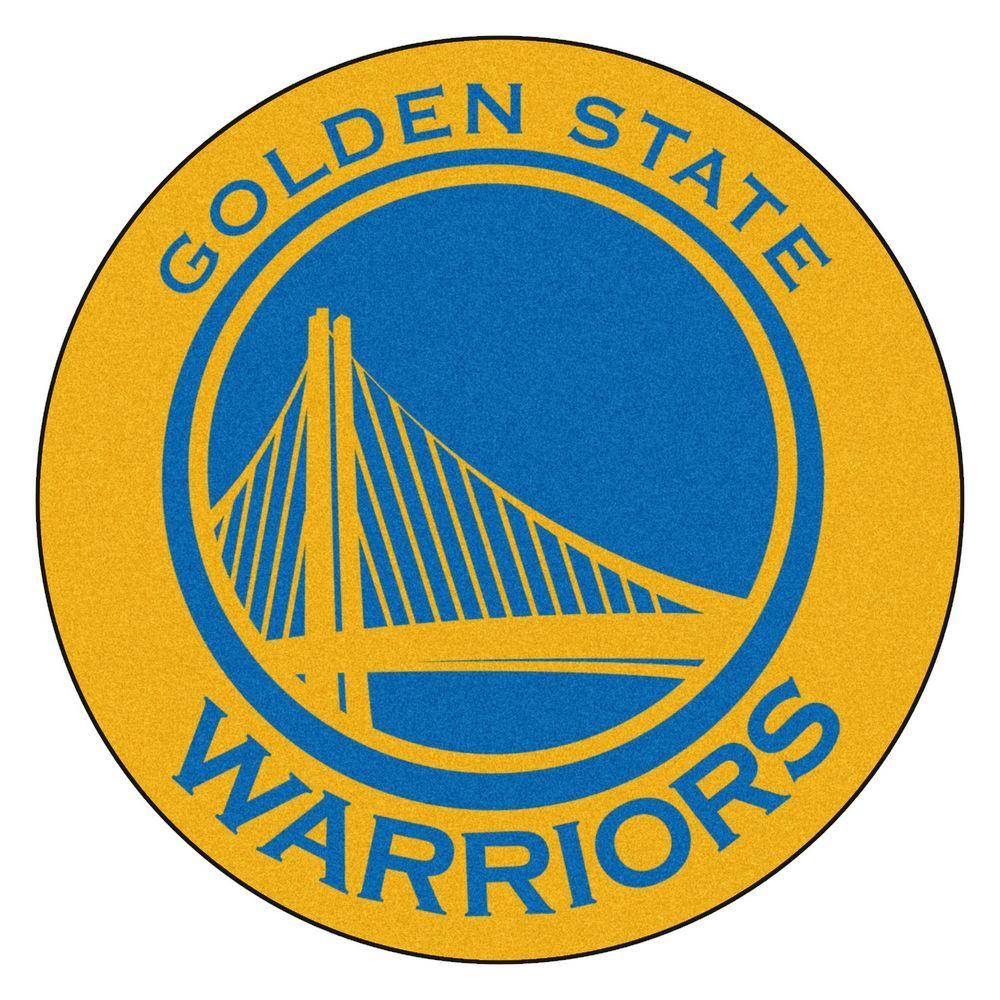 dc31960ae3b FANMATS NBA Golden State Warriors Gold 2 ft. x 2 ft. Round Area Rug ...