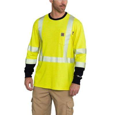 Men's Tall X-Large Brite Lime FR High Vis Force Long Sleeve T-Shirt