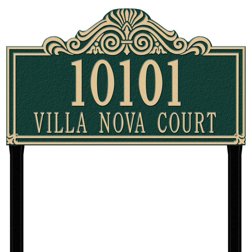 Whitehall Products Villa Nova Rectangular Green/Gold Estate Lawn Two Line Address Plaque