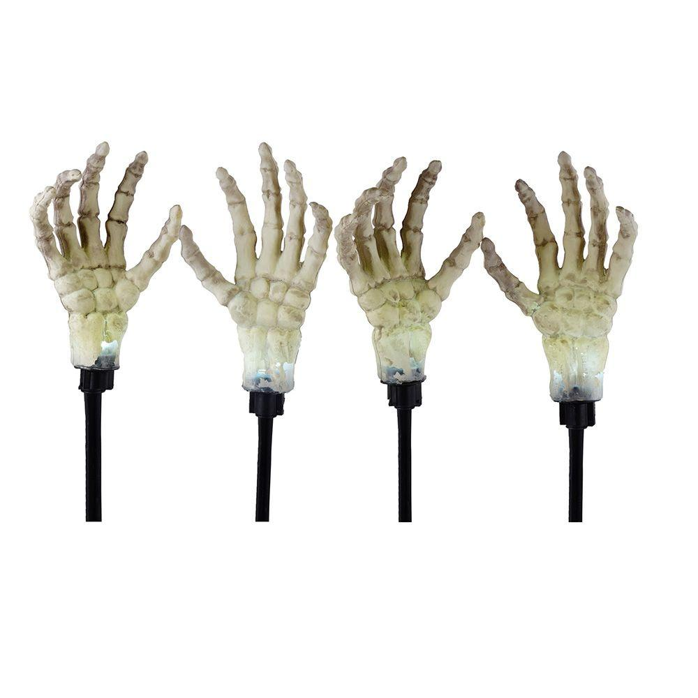 17 in. Illuminated Skeleton Hand Ground Breakers with LED Illumination (4-Pack)