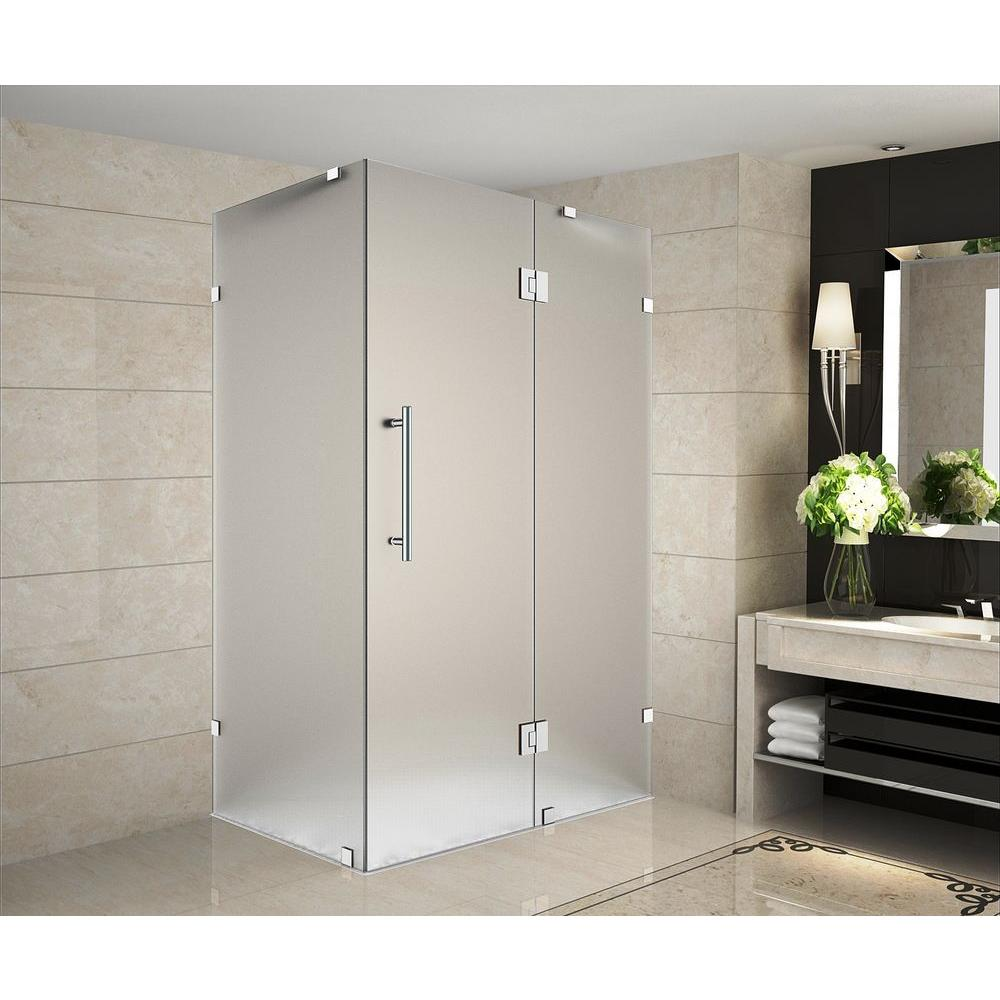 Aston Avalux 34 in. x 30 in. x 72 in. Completely Frameless Shower Enclosure with Frosted Glass in Chrome