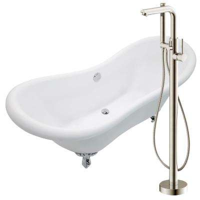 Aegis 68.75 in. Acrylic Clawfoot Non-Whirlpool Bathtub in White with Sens Faucet with Hand Shower