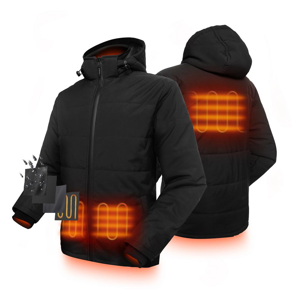 ORORO ORORO Men's Large Black 7.4-Volt Lithium-Ion Padded Heated Jacket with SMAWARM Insulation and (1) 5.2 Ah Battery Pack