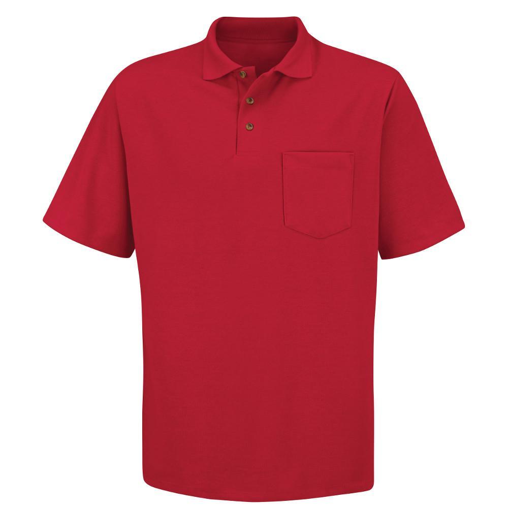 Men's Size L Red 50/50 Blend Solid Shirt