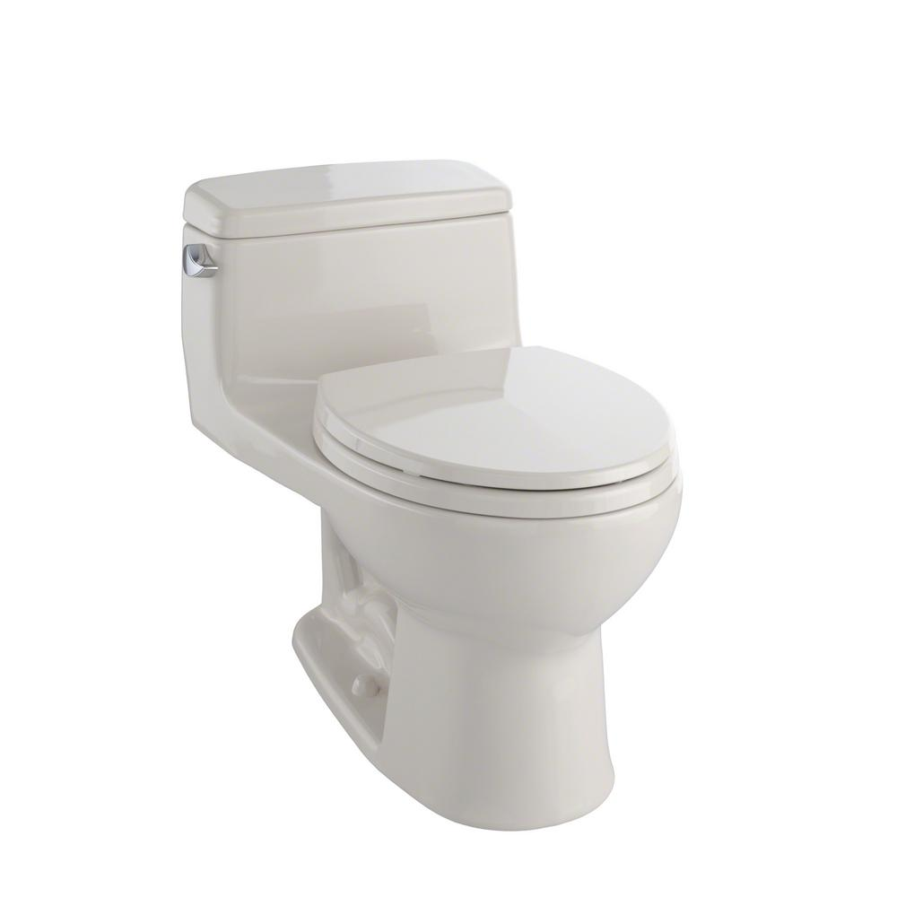 toto eco supreme 1 piece gpf single flush round toilet in bone ms863113e 03 the home depot. Black Bedroom Furniture Sets. Home Design Ideas