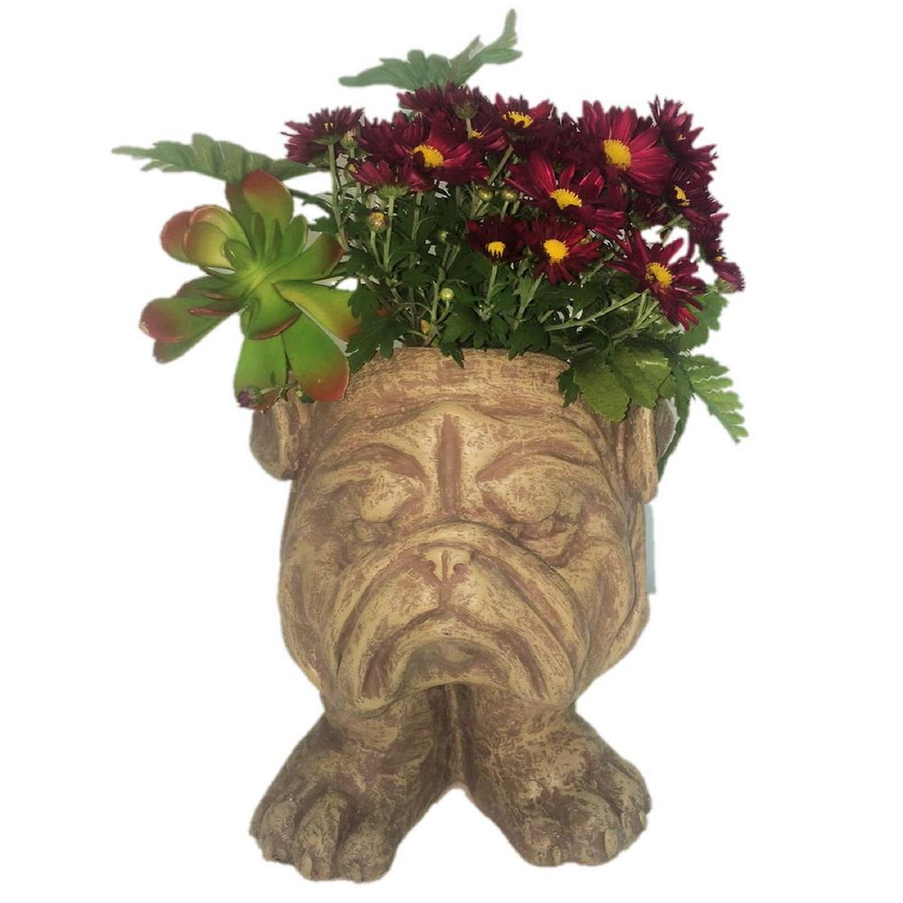 Exhart Solar Orange Tiki Face Planter 11932 The Home Depot