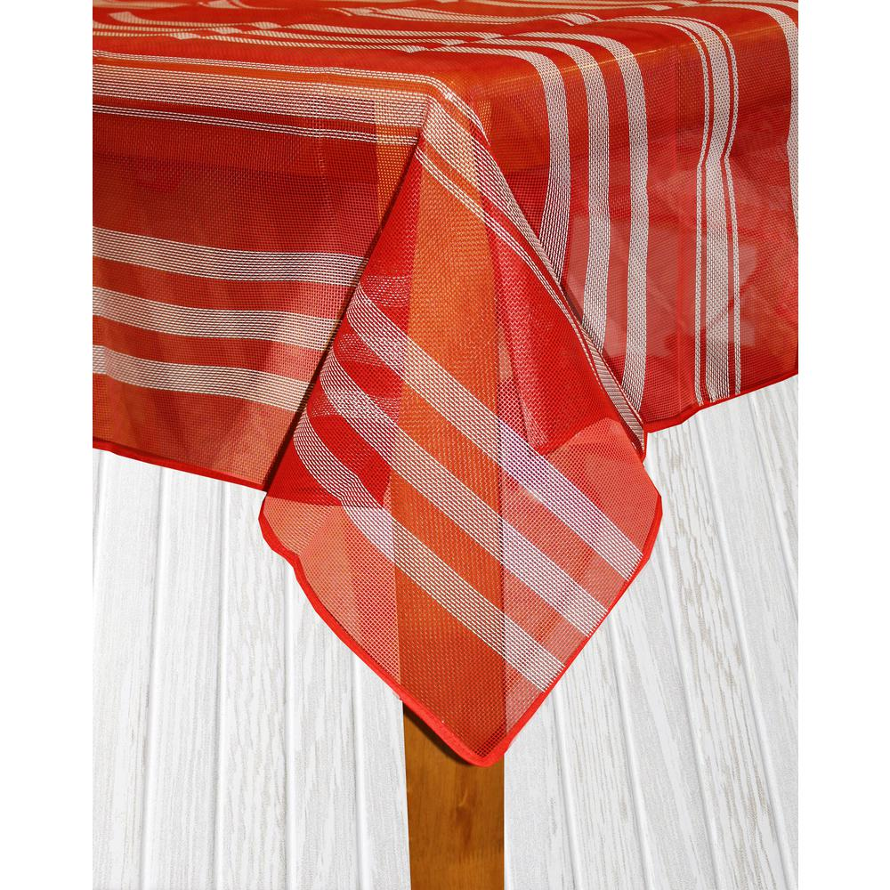 Lintex Bistro Stripe 60 in. x 84 in. Red Vinyl and Poly T...