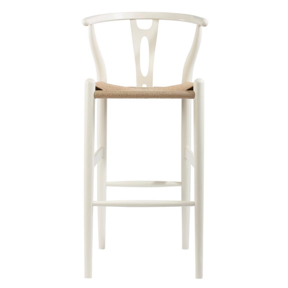 Wishbone White Finish Wood Bar Stool