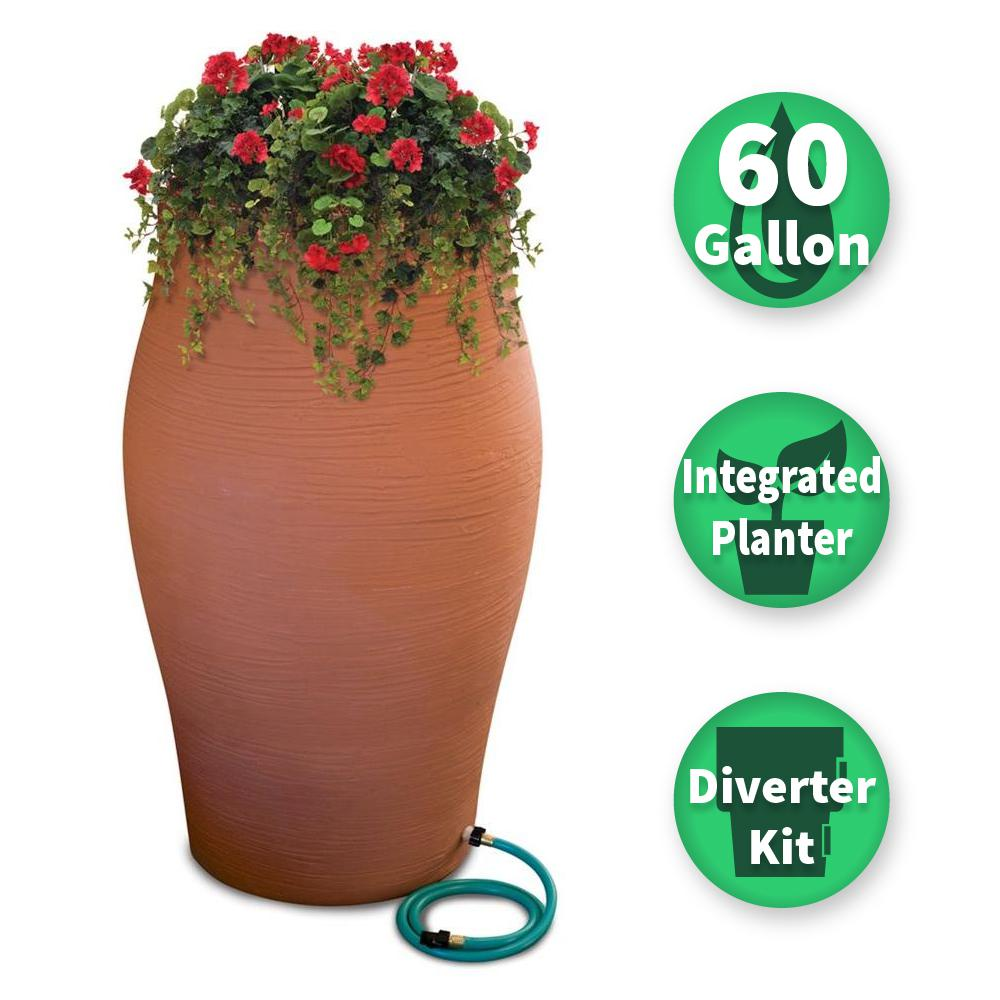 RESCUE 60 Gal. Terra Cotta Decorative Rain Barrel Kit with Planter and Diverter System