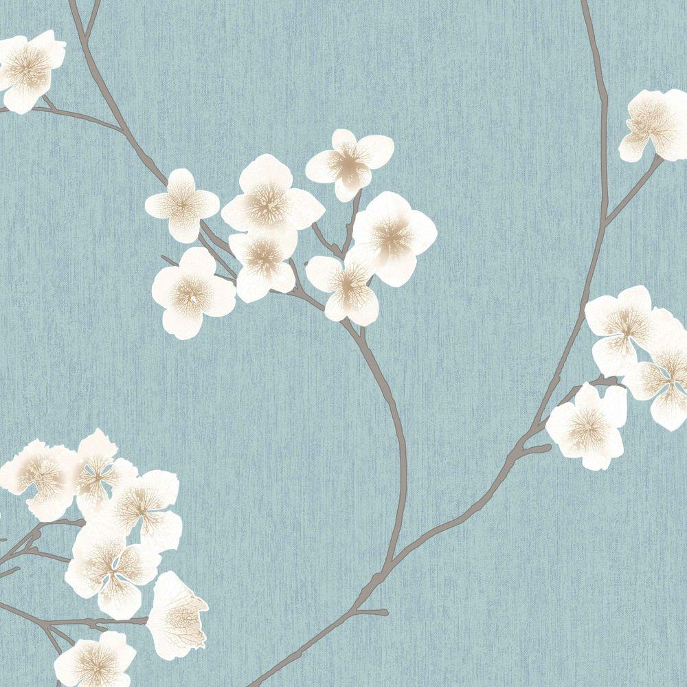 Graham Brown Blue And Cream Radiance Wallpaper