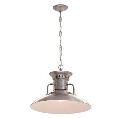 1-Light Brushed Nickel Large Pendant with Steel Shade