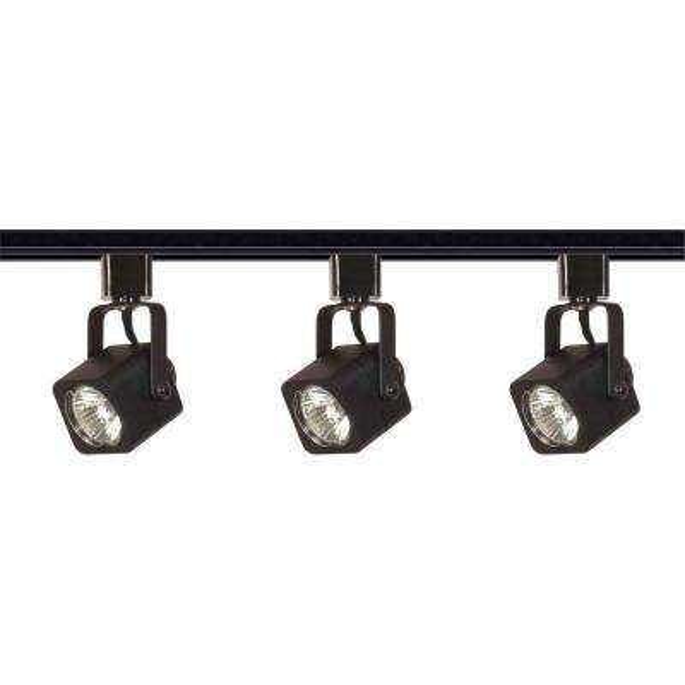 3-Light MR16 Black Square Track Lighting Kit Line Voltage