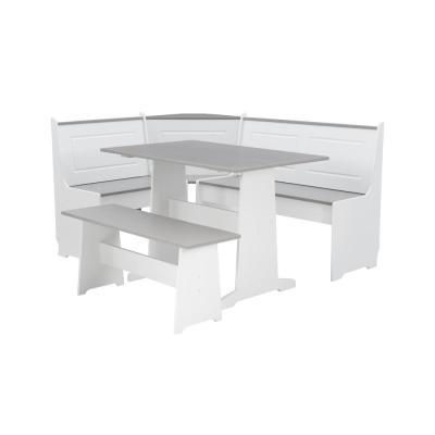 Ardmore 3 Piece White and Grey Breakfast Nook Dining Set