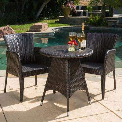 Corsica Multi-Brown 3-Piece Wicker Round Outdoor Bistro Set