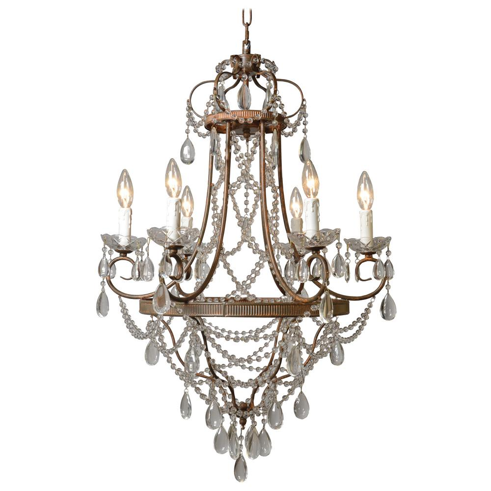 Y Decor Palais 6Light Antique Bronze Chandelier with Crystal Beads