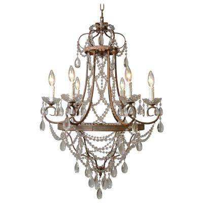 Palais 6-Light Antique Bronze Chandelier with Crystal Beads