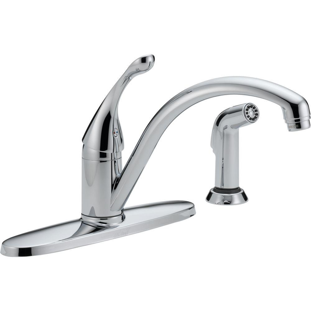 Delta Collins Single Handle Standard Kitchen Faucet With Side Sprayer In Chrome