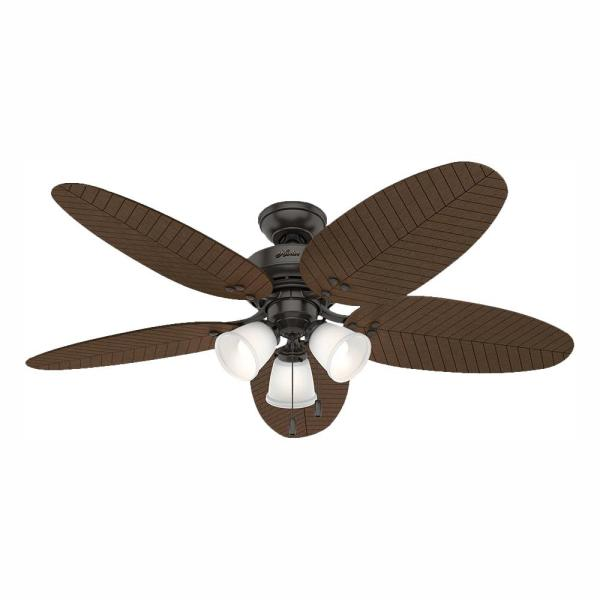 Hunter Lago Vista 54 In Led Indoor Outdoor Noble Bronze Ceiling Fan With Light Kit 53424 The Home Depot