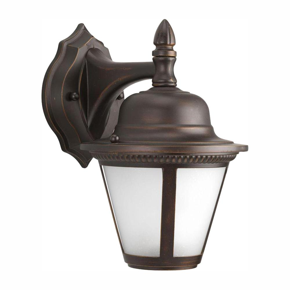 Westport Collection 1-Light 10.25 in. Outdoor Antique Bronze LED Wall Lantern Sconce