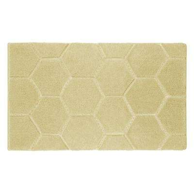 Pearl Honeycomb Banana 17 in. x 24 in. Bath Mat