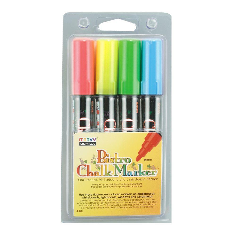 Marvy Uchida Fluorecent Colors Bistro Chalk Marker Set A (4-Piece)