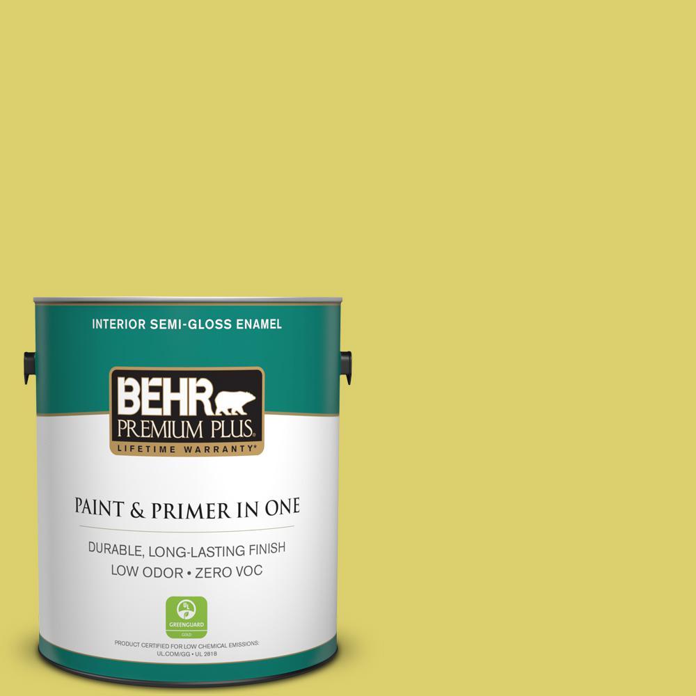 BEHR Premium Plus 1-gal. #P340-4 Lime Tree Semi-Gloss Enamel Interior Paint