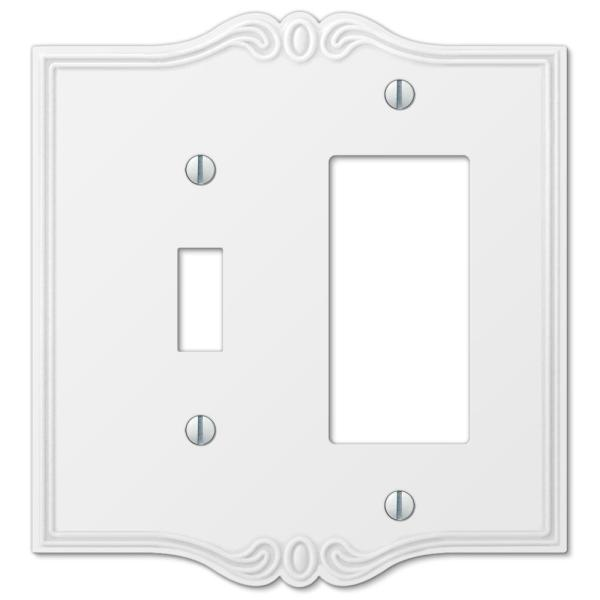 Charleston 2 Gang 1-Toggle and 1-Rocker Composite Wall Plate - White