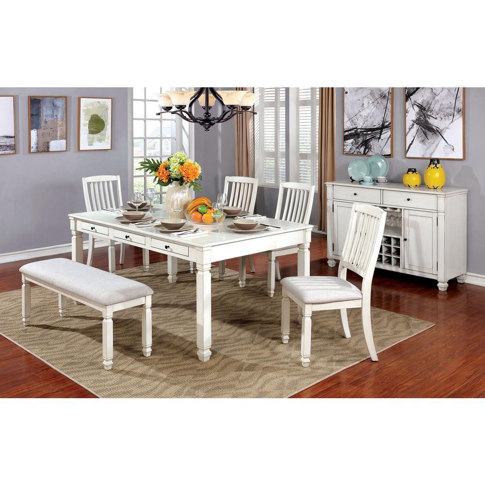 Kaliyah Vintage White Transitional Style Dining Table