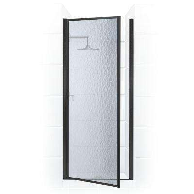 Legend Series 24 in. x 64 in. Framed Hinged Shower Door in Black Bronze with Obscure Glass