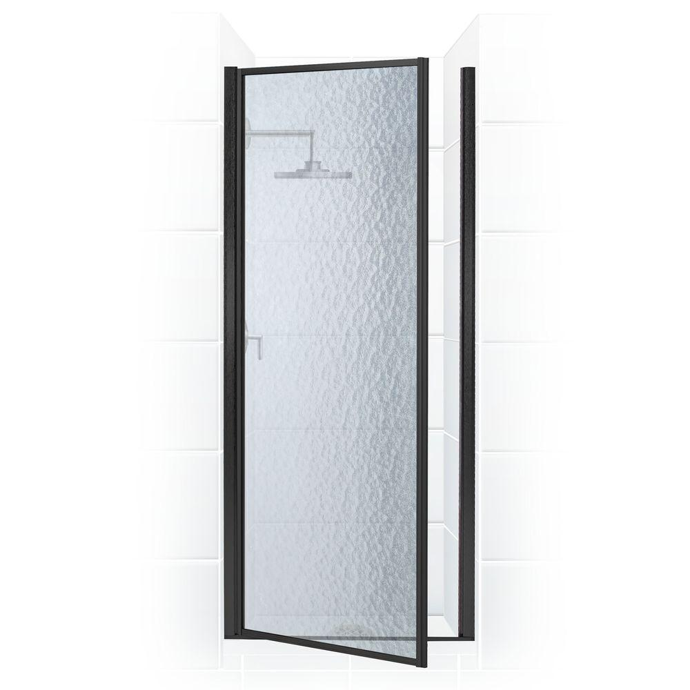 Coastal Shower Doors Legend Series 26 in. x 68 in. Framed Hinged Shower Door in Black Bronze with Obscure Glass