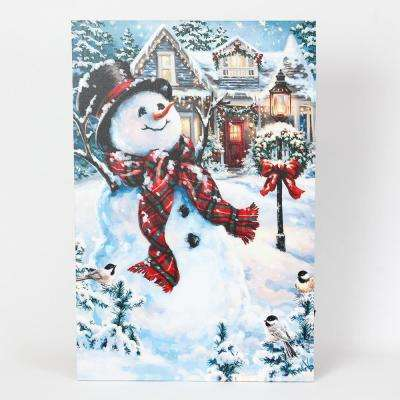 24 in. Holiday Home and Snowman Print with LED Lights
