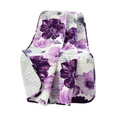 Leah Gray/Purple Single Throw Blanket 50 in. x 60 in.