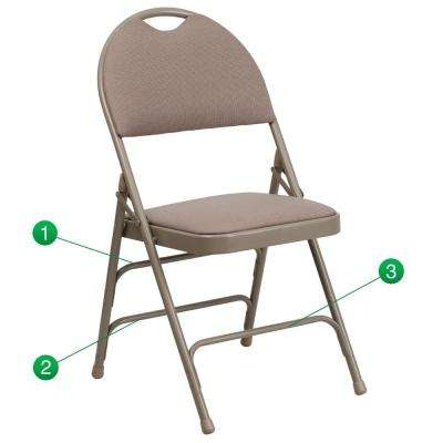 Extra Large Beige Ultra-Premium Fabric Metal Padded Folding Chair