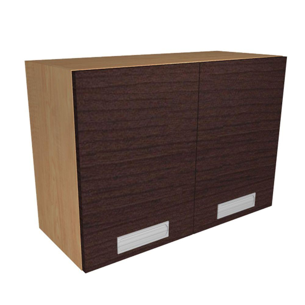 Home Decorators Collection Genoa Ready to Assemble 30 x 24 x 12 in. Wall Cabinet with 2 Soft Close Doors in Espresso, Espresso Melamine