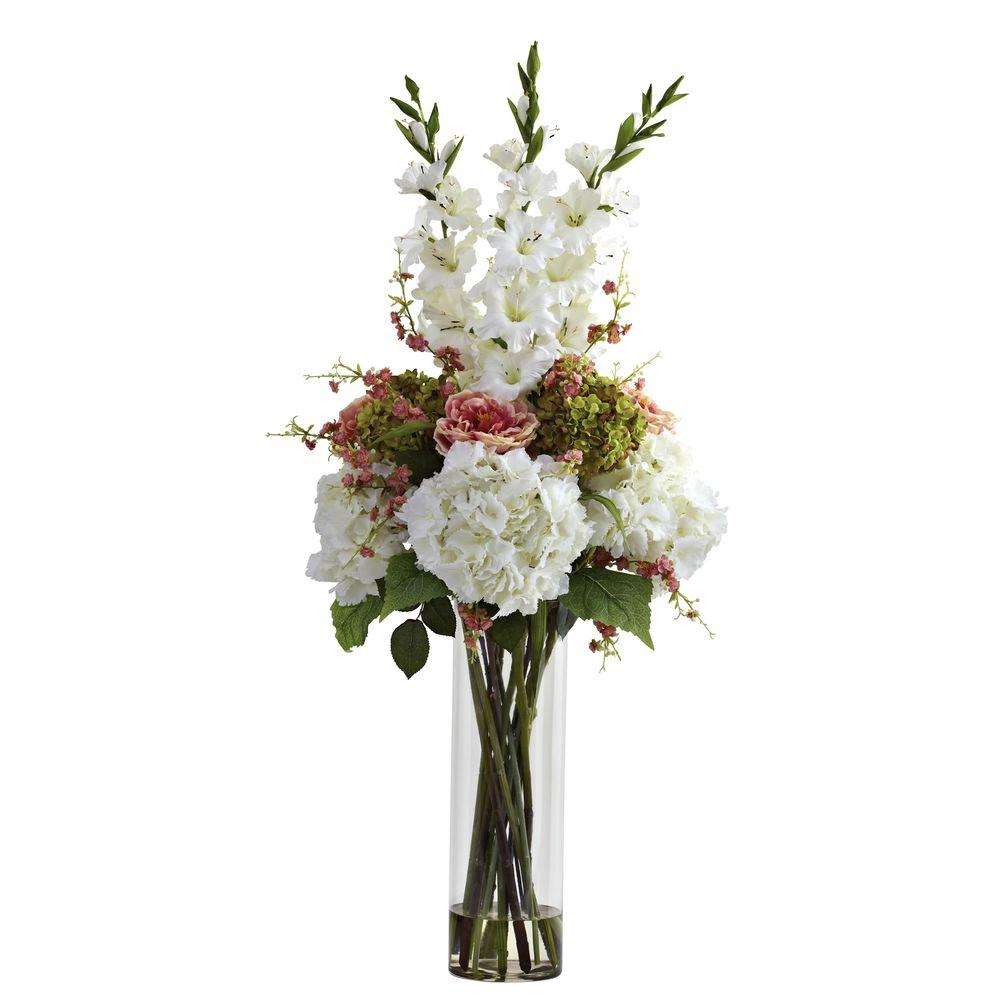 Nearly Natural Giant Mixed Floral Arrangement In White