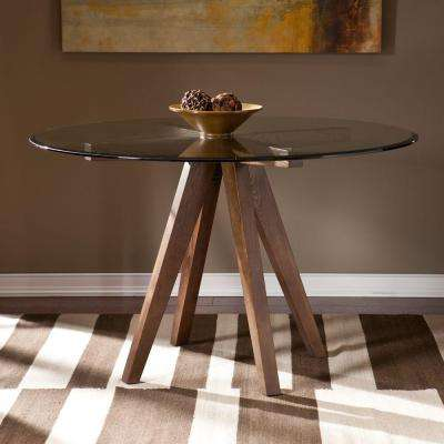 Hecuba Glass Top 48 in. W Round Dining Table in Burnt Oak