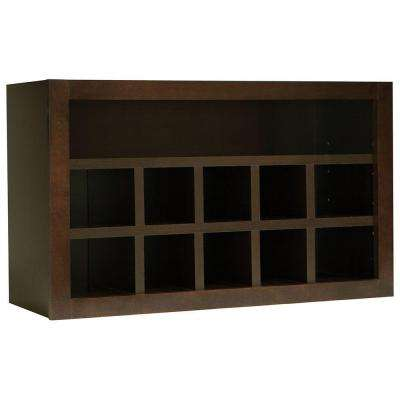 Shaker Assembled 30x18x12 in. Wall Flex Kitchen Cabinet with Shelves and Dividers in Java