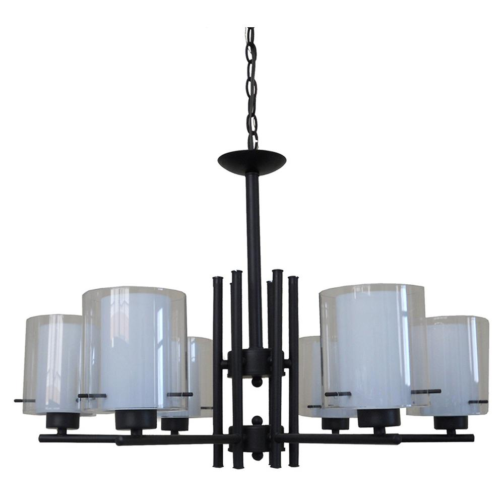 6-Light Black Chandelier with Flat White and Clear Glass Shade