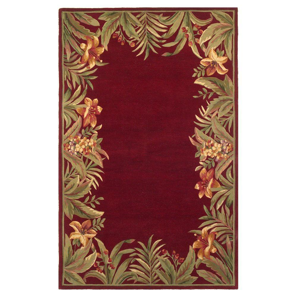 Kas Rugs Border Bouquet Red 8 ft. 6 in. x 11 ft. 6 in. Area Rug