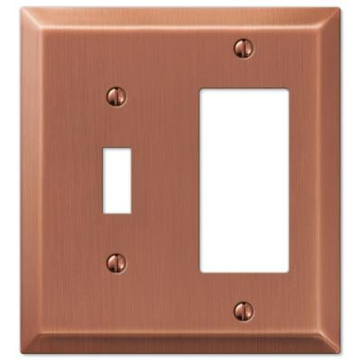 Metallic 2 Gang 1-Toggle and 1-Rocker Steel Wall Plate - Antique Copper